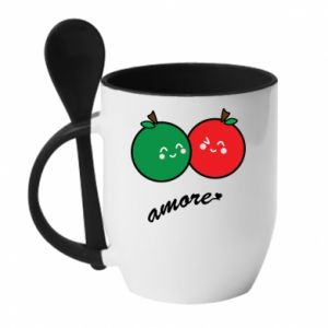 Mug with ceramic spoon Apples in love - PrintSalon