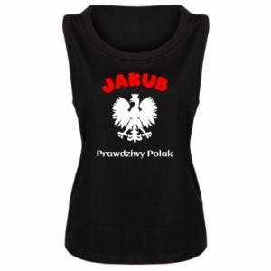 Damska koszulka bez rękawów Jakub jest prawdziwym Polakiem