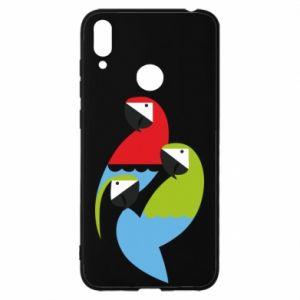 Etui na Huawei Y7 2019 Jaskrawe papugi