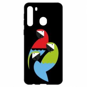 Etui na Samsung A21 Jaskrawe papugi