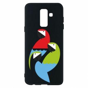Etui na Samsung A6+ 2018 Jaskrawe papugi