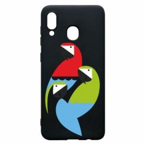 Etui na Samsung A30 Jaskrawe papugi