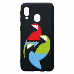 Etui na Samsung A40 Jaskrawe papugi