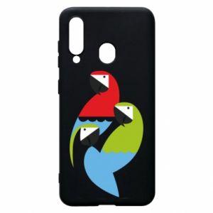 Etui na Samsung A60 Jaskrawe papugi