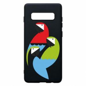 Etui na Samsung S10+ Jaskrawe papugi