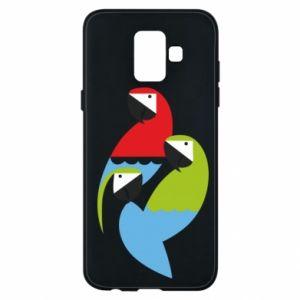 Etui na Samsung A6 2018 Jaskrawe papugi