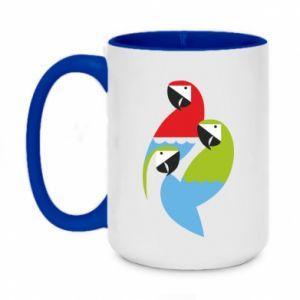 Kubek dwukolorowy 450ml Jaskrawe papugi
