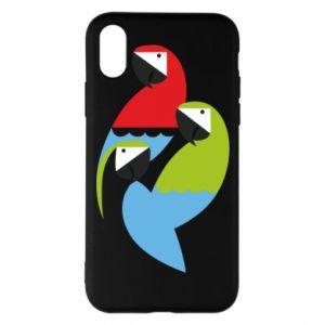 Etui na iPhone X/Xs Jaskrawe papugi