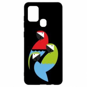 Etui na Samsung A21s Jaskrawe papugi