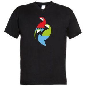 Męska koszulka V-neck Jaskrawe papugi
