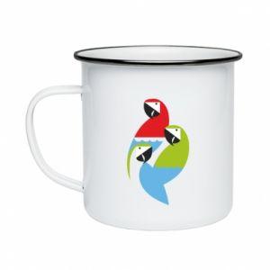 Kubek emaliowane Jaskrawe papugi