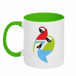 Kubek dwukolorowy Jaskrawe papugi