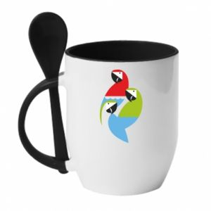 Kubek z ceramiczną łyżeczką Jaskrawe papugi