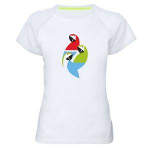 Damska koszulka sportowa Jaskrawe papugi