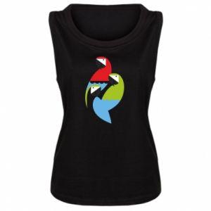 Damska koszulka bez rękawów Jaskrawe papugi