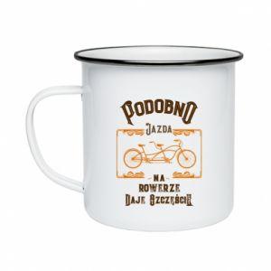 Enameled mug Cycling gives you happiness