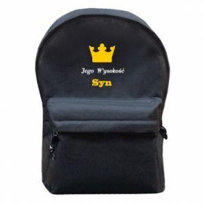 Plecak z przednią kieszenią Jego Wysokość Syn