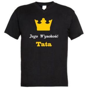 Męska koszulka V-neck Jego Wysokość Tata