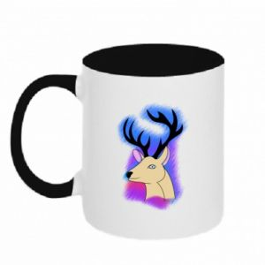 Two-toned mug Deer on a colored background
