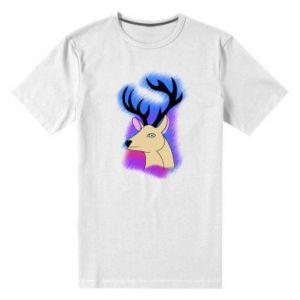 Męska premium koszulka Jeleń na kolorowym tle
