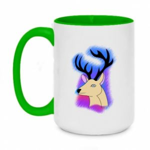 Two-toned mug 450ml Deer on a colored background