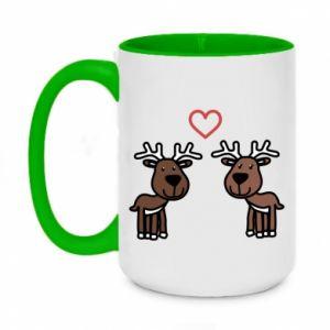 Two-toned mug 450ml Deer in love