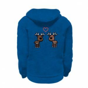 Kid's zipped hoodie % print% Deer in love