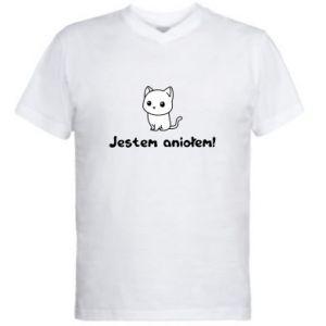 Męska koszulka V-neck Jestem aniołem! Albo diabłem ...