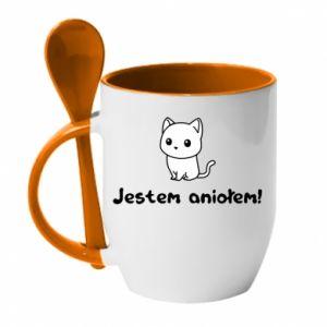 Mug with ceramic spoon I'm an angel! Or the devil ... - PrintSalon