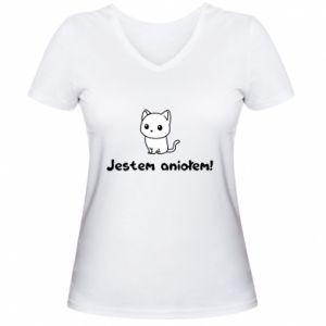 Damska koszulka V-neck Jestem aniołem! Albo diabłem ...