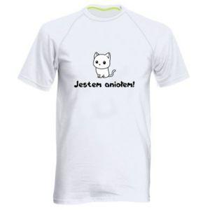 Męska koszulka sportowa Jestem aniołem! Albo diabłem ...