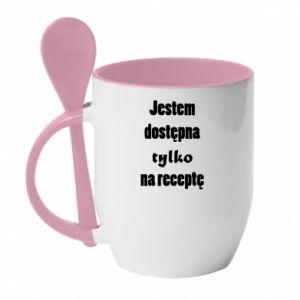 Kubek z ceramiczną łyżeczką Jestem dostępna tylko na receptę