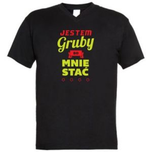 Koszulka V-neck męska Jestem gruby bo mnie stać