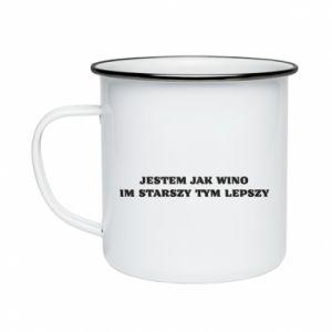 Enameled mug I like wine the older the better - PrintSalon