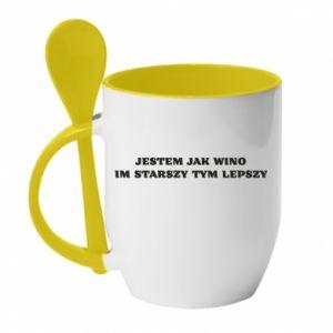 Mug with ceramic spoon I like wine the older the better - PrintSalon