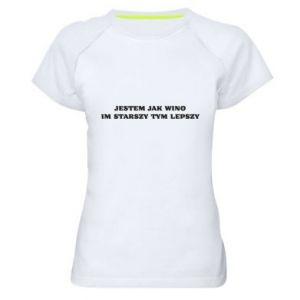 Women's sports t-shirt I like wine the older the better - PrintSalon