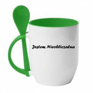 Mug with ceramic spoon I'm Unpredictable - PrintSalon
