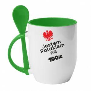 Mug with ceramic spoon I'm Polish for 100% - PrintSalon