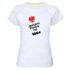Women's sports t-shirt I am Polish for 100%, for her - PrintSalon