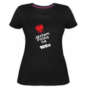 Women's premium t-shirt I am Polish for 100%, for her - PrintSalon