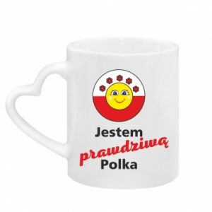 Mug with heart shaped handle I am a real Polish woman