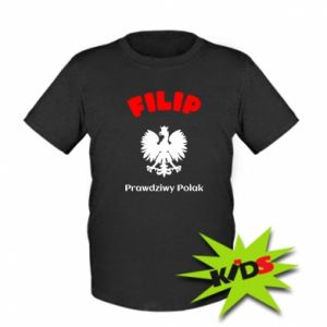 Kids T-shirt Filip is a real Pole
