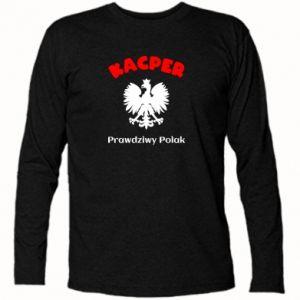 Long Sleeve T-shirt Kacper is a real Pole - PrintSalon