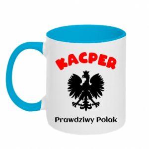 Two-toned mug Kacper is a real Pole - PrintSalon