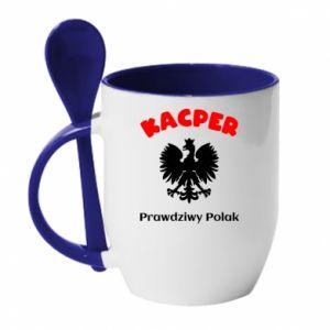 Mug with ceramic spoon Kacper is a real Pole - PrintSalon