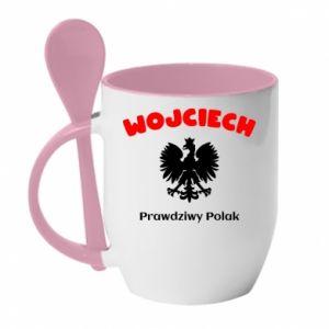 Mug with ceramic spoon Wojciech is a real Pole - PrintSalon