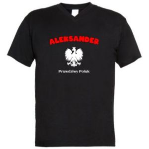 Męska koszulka V-neck Aleksander jest prawdziwym Polakiem