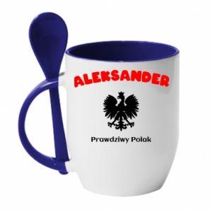Kubek z ceramiczną łyżeczką Aleksander jest prawdziwym Polakiem