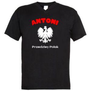Męska koszulka V-neck Antoni jest prawdziwym Polakiem