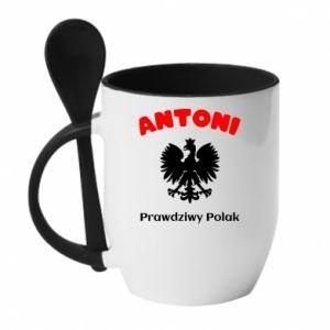 Kubek z ceramiczną łyżeczką Antoni jest prawdziwym Polakiem